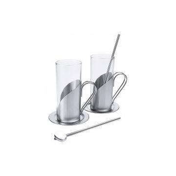 Forró ital pohár fém fogóval, 0,25 L, 2 db/szett