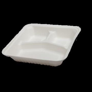 Komposztálható cukornád natúr 3 részes ételes papírdoboz tetővel 23X23x8cm