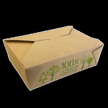 Komposztálható elviteles doboz barna kraft papír 1500 ml