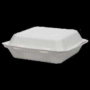 Komposztálható cukornád natúr 1 részes ételes papírdoboz 23X23x8cm