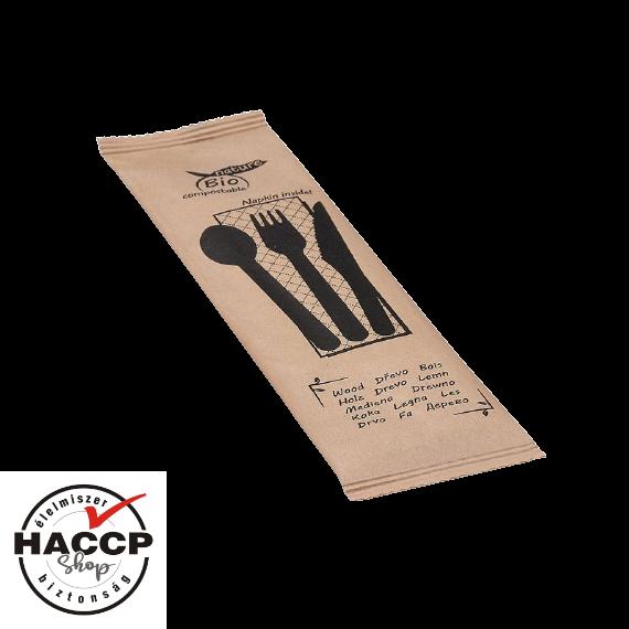 Komposztálható csomagolt FA evőeszköz szett (villa + kés + kanál + szalvéta)