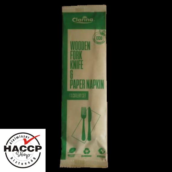 Komposztálható csomagolt FA evőeszköz szett (villa + kés + szalvéta)