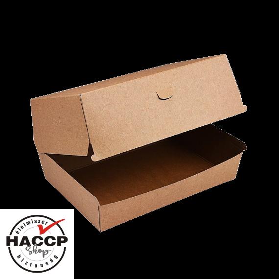 """Papír hamburgeres doboz """"Plus"""" KRAFT 195x135x100mm"""