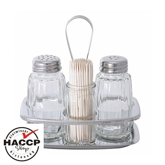 Invertár só, bors, fogvájó tartóval 12 x 8 cm
