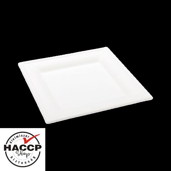 Komposztálható cukornád tányér szögletes 200x200mm