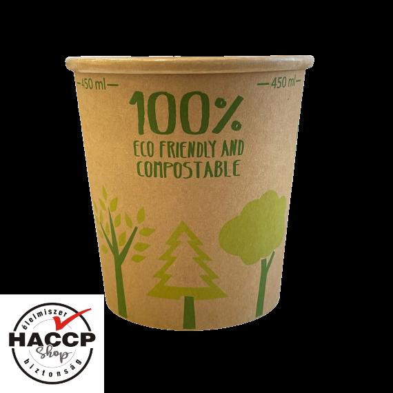 Leveses pohár barna kraft papír 450 ml, komposztálható