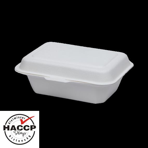 Komposztálható cukornád natúr ételes papírdoboz 18,28X13,71x6,85cm